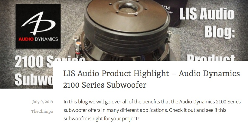 LIS Audio Product Highlight - Audio Dynamics 2100 Series Subwoofer