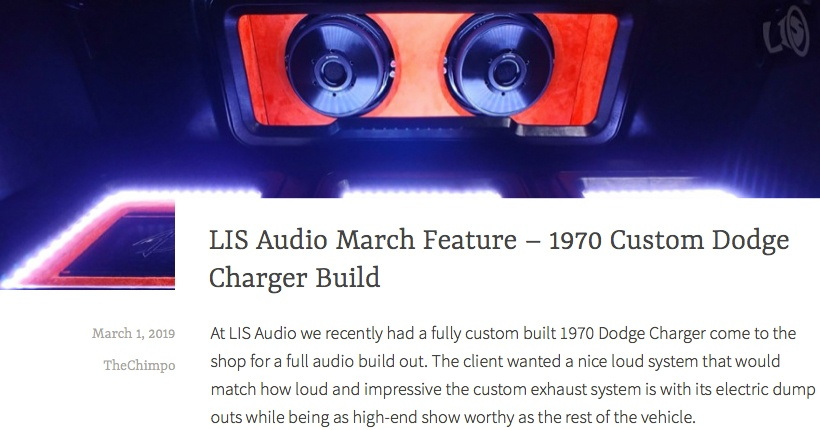 LIS Audio March Feature - 1970 Dodge Charger Build