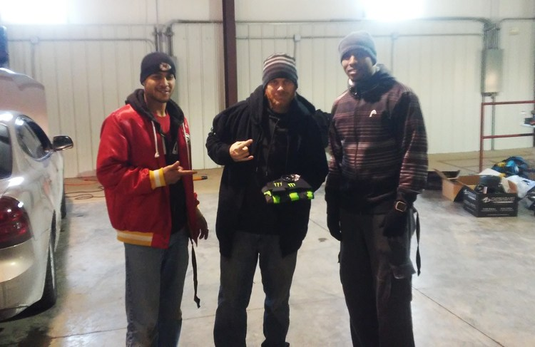 "Cameron ""Chimpo"" Powell, Michael Lang & Justice ""JAX"" Berry with the Monster Apparel Winnings"